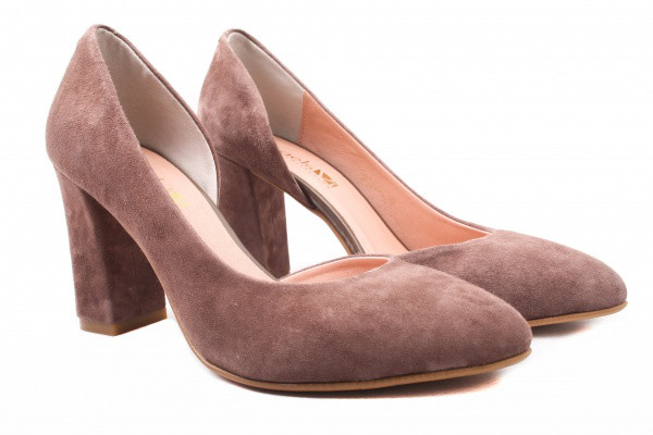 Туфли на каблуке Angels натуральная замша, цвет визон