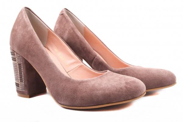Туфли женские на каблуке из натуральной замши, коричневые Angels