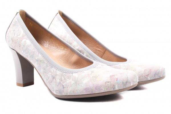 Туфли женские на каблуке из натуральной замши, серые Bioecco Польша