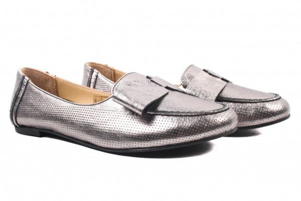 Туфли комфорт женские на низком ходу Gossi натуральная кожа, цвет серебро, Турция.