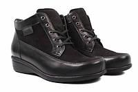 Ботинки женские на платформе из натуральной кожи, черные Axel