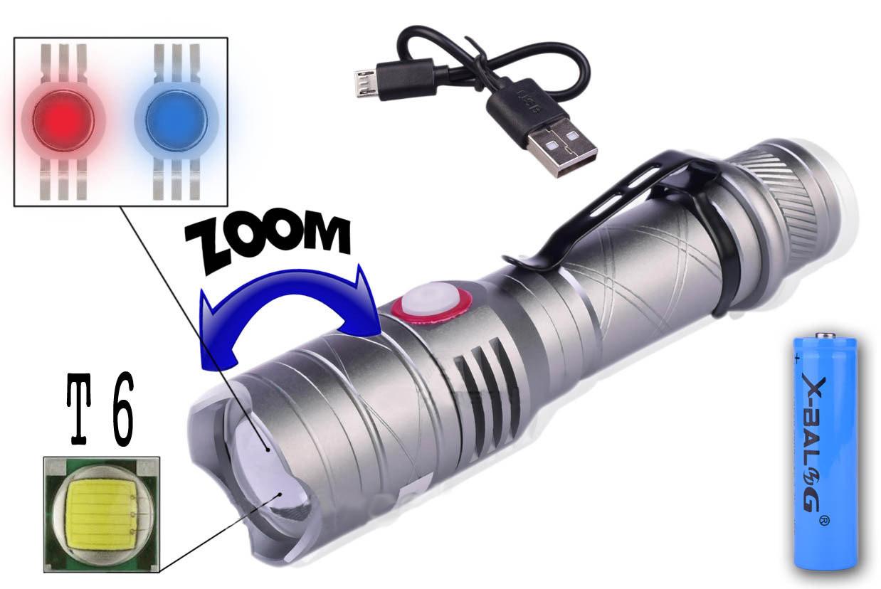 Тактический Фонарик Police BL-8456-T6+1red+1blue+магнит