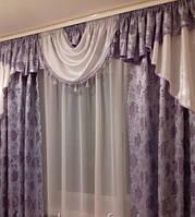 Готовые шторы с ламбрекеном Сандра NEW, сиреневый