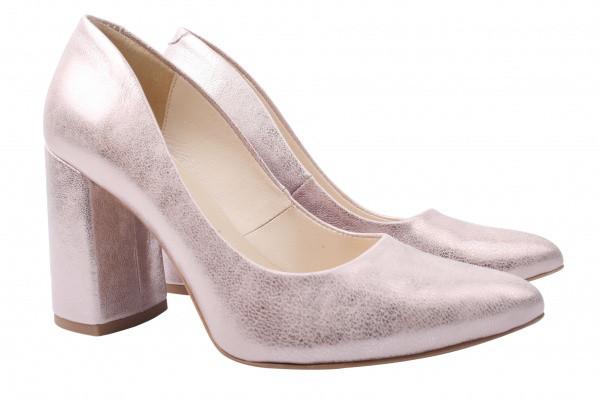 Туфли женские на каблуке из натуральной кожи, розовые Boccato  Польша
