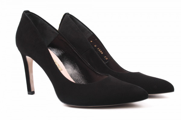 Туфли женские на шпильке из натуральной замши, черные Bravo Moda Польша