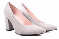 Туфли на каблуке Bravo Moda натуральная замша, цвет серый