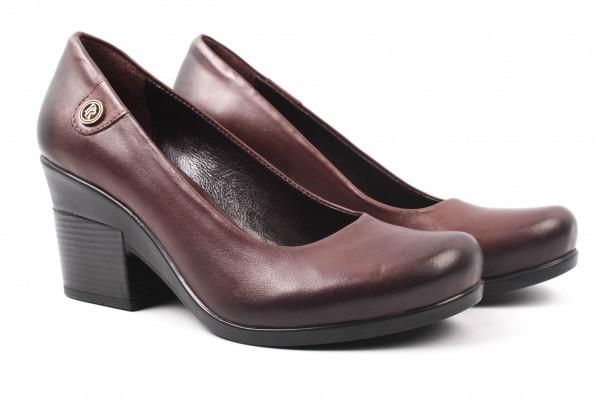 Туфли женские на каблуке Premio натуральная кожа, цвет коричневый
