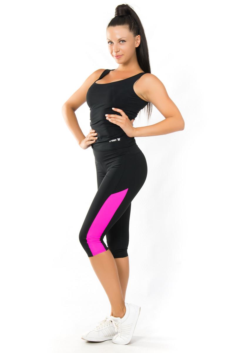 Спортивный комплект майка чёрная с бриджами