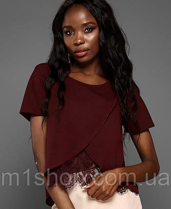 6eb0bebdd76 Женская блузка с кружевом по низу (Силия jd ) купить недорого ...