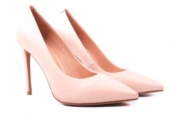Туфли женские на шпильке из натуральной кожи, розовые Deenoor (40р)