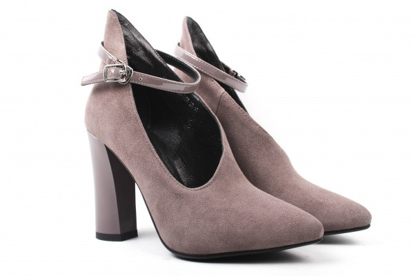 Туфли женские на каблуке из натуральной замши, серые Erisses (35р)