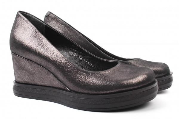 Туфли женские на танкетке из натуральной кожи сатин, черные Estomod Турция