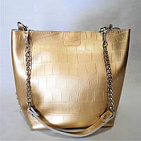 Симпатичная женская сумочка из кожи золотистого цвета LVQ-017709, фото 1