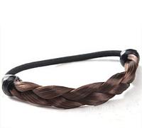 Модная резинка для волос, резинка из искусственных волос, заплетенных косичкой, цвет шатен