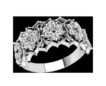 Кольцо  женское серебряное Бриллиантовые цветы 21185