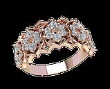 Кольцо  женское серебряное Бриллиантовые цветы 21185, фото 2