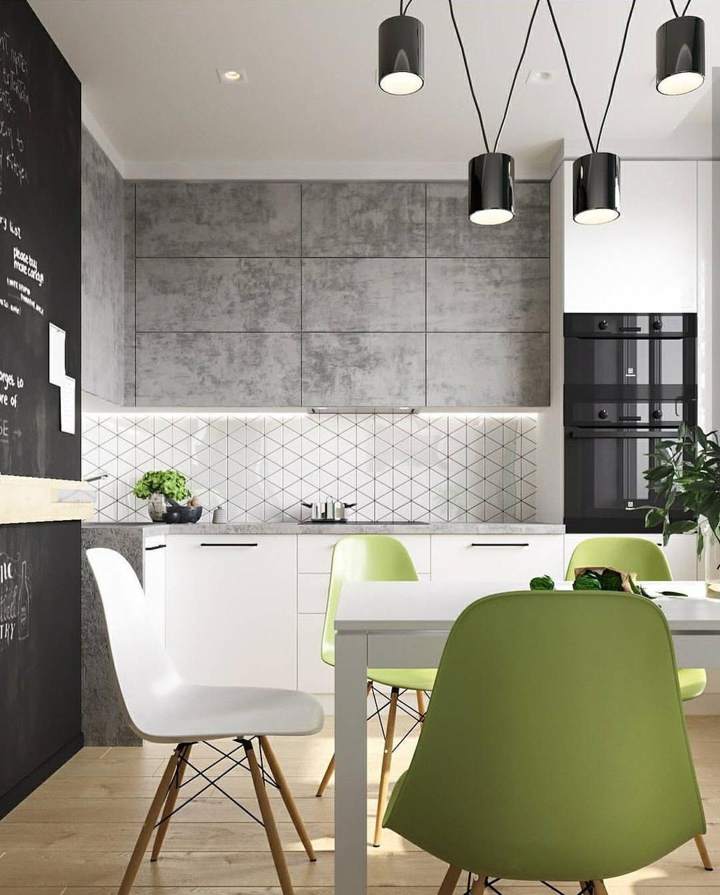 Кухня на заказ с фасадами под бетон  BLUM-065