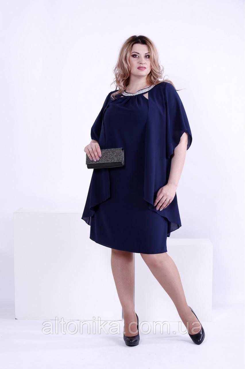 f3b88863e2f Нарядное синее платье из креп-шифона