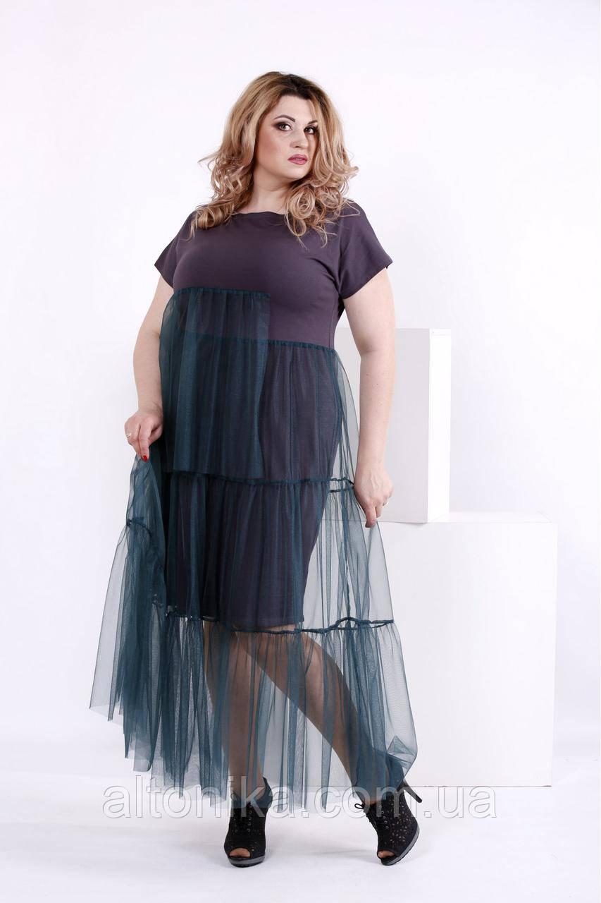 Трикотажное платье с органзой | 42-74