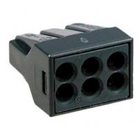Клемма WAGO на 6 проводов самозажимная пружинная с пастой для распределительных коробок (773-306)