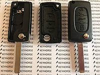 Корпус выкидного ключа для Citroen C1, C2, С3, С4, Jumpy (Ситроен Джампи) 3 - кнопки, батарейка на корпусе