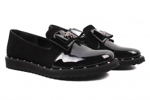 Туфли комфорт Liliya лаковая натуральная кожа, цвет черный