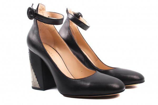 Туфли на каблуке Lottini натуральная кожа, цвет черный