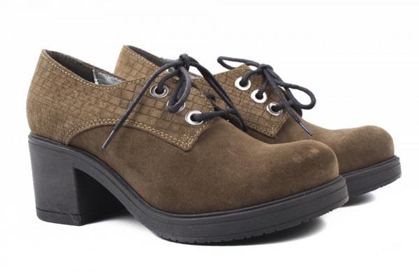 Туфли женские на каблуке Marcin натуральная замша, цвет оливковый, (40р.)