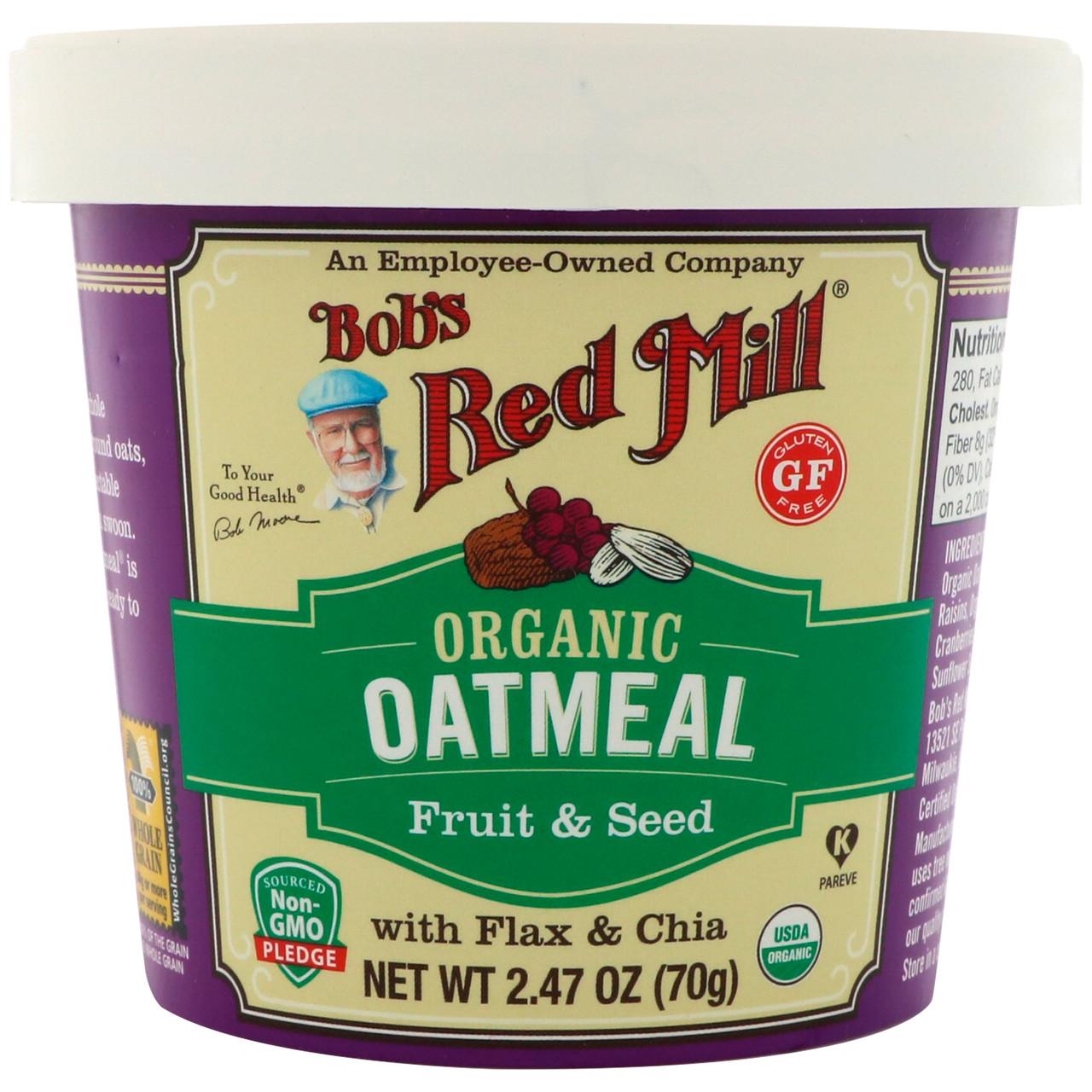 Bobs Red Mill, Органическая овсяная каша в стаканчике, фрукты и семена с льном и чиа, 2,47 унц. (70 г)