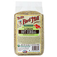 Bobs Red Mill, Органические, цельнозерновые популярные хлопья из 6 видов зерен, со льняным семенем, 24 унции (680 г)
