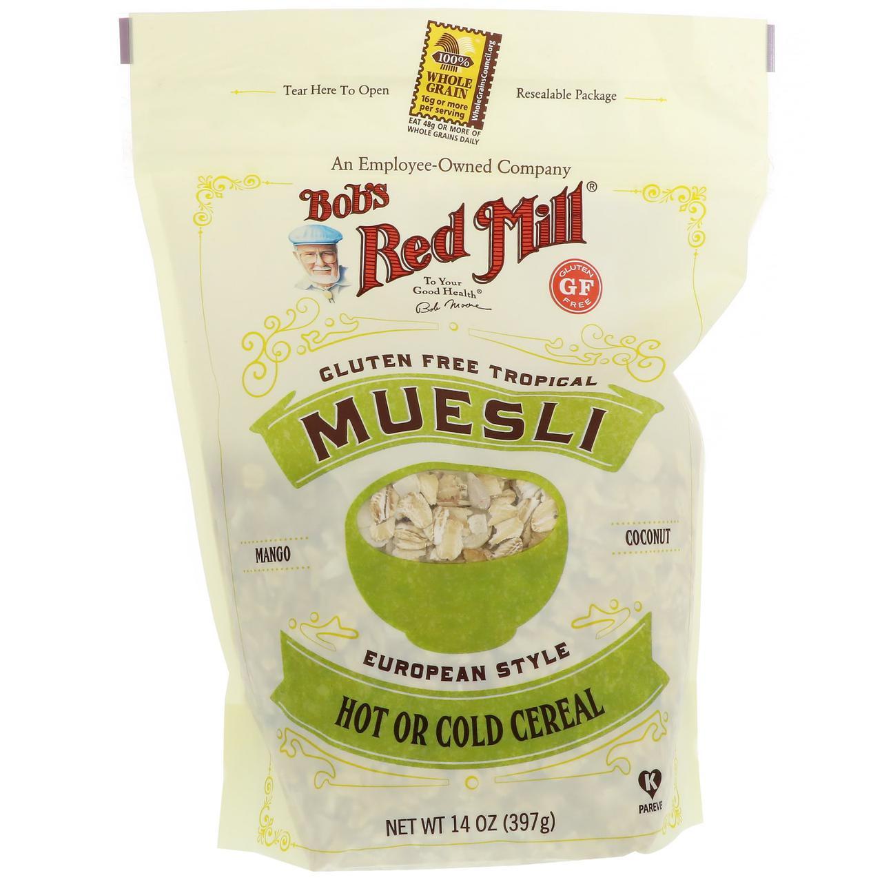 Bobs Red Mill, Мюсли, тропические плоды, без глютена, 397 г (14 унций)