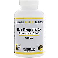 California Gold Nutrition, Прополис 2X, Концентрированный экстракт, 500 мг, 240 вегетарианских капсул, фото 1