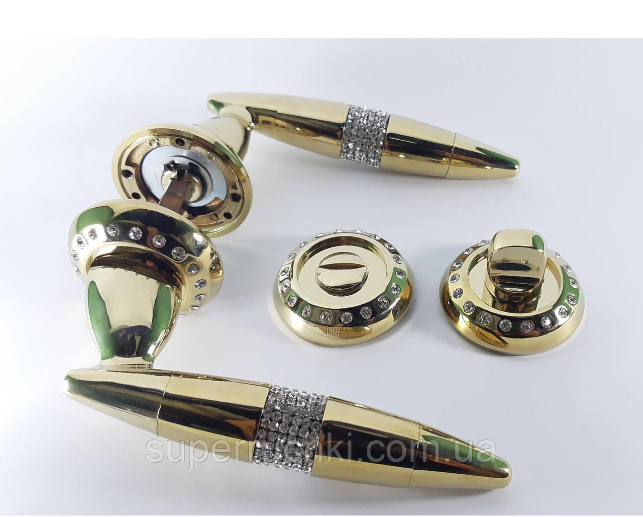 Ручка межкомнатная USK c камнями (золото)