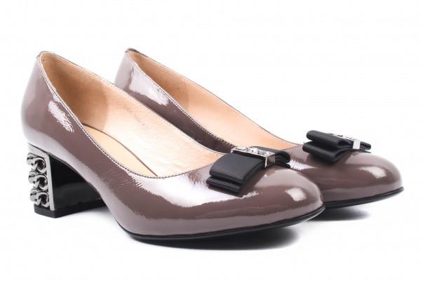 Туфли женские на каблуке Molka лаковая натуральная кожа, цвет серый