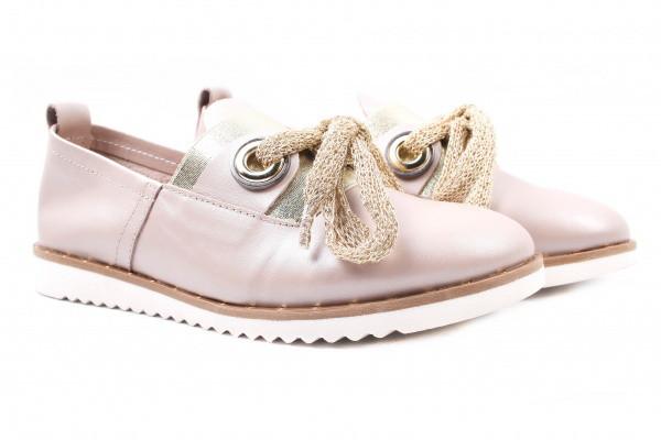 Туфли комфорт женские на низком ходу Molly Bessa натуральная кожа, цвет капучино, Турция.