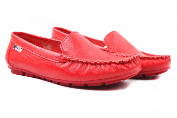 Мокасины Nessi натуральная кожа, цвет красный