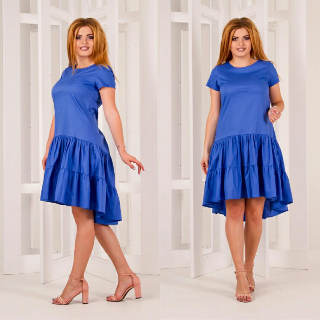 Платье больших размеров 50+ асимметричного свободного кроя   / 3 цвета  арт 6281-589