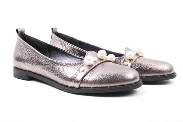 Туфли, балетки на низком каблуке из натуральной кожи, серебристые, Toto Family Украина.