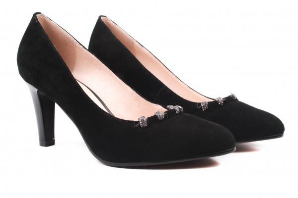 Туфли женские на каблуке Polann натуральная замша, цвет черный