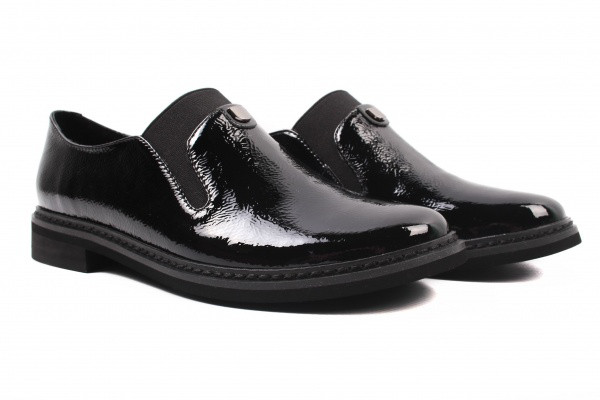 Туфли комфорт женские на низком ходу Polann лаковая натуральная кожа, цвет черный