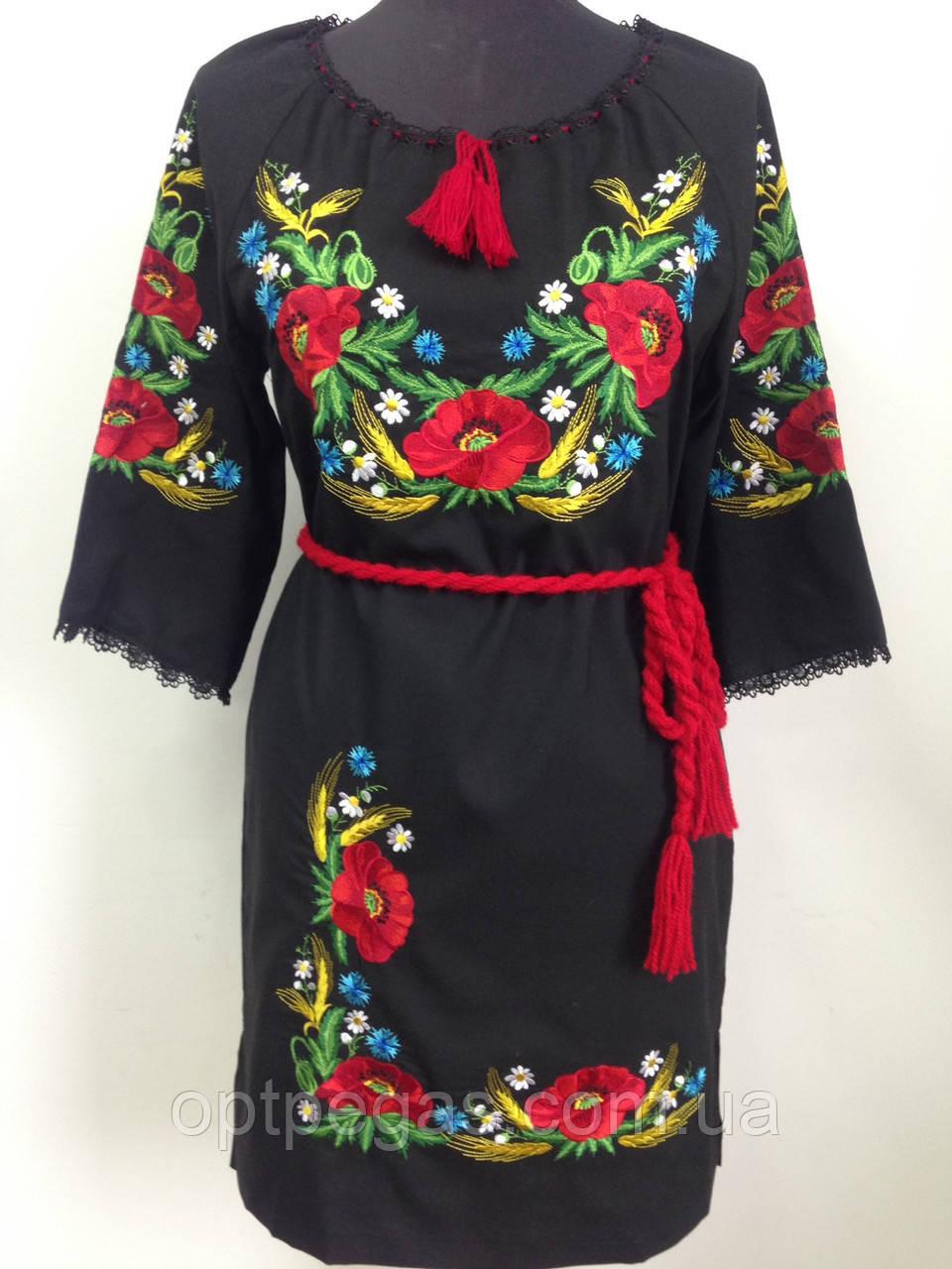 2d1d8546107a7a Вишите чорне жіноче плаття льон з маками: продажа, цена в Луцьку ...