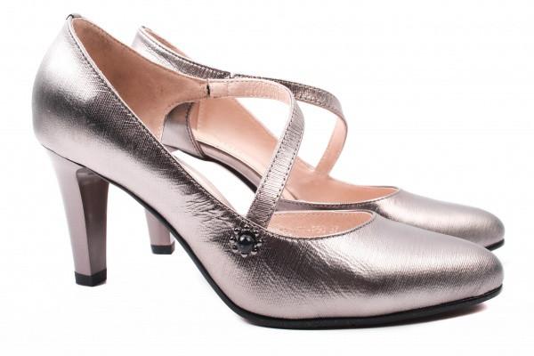 Туфли женские на каблуке Polann натуральная кожа, цвет серебро, Турция.
