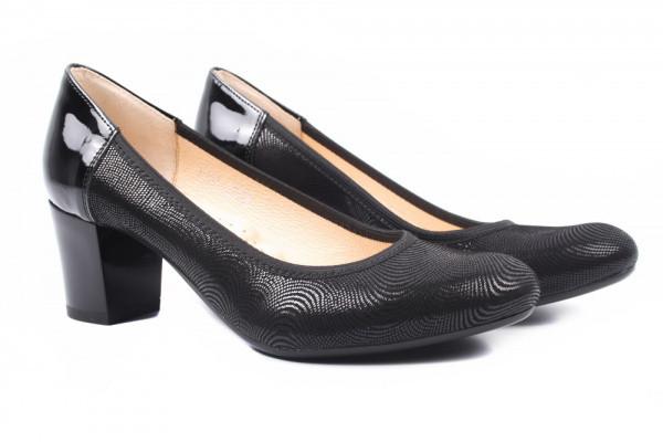 Туфли женские на каблуке Stillo нубук, цвет черный, Польша.