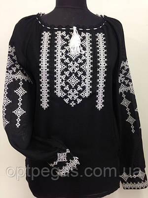 Вишиванка жіноча чорна з білою вишивкою льон  продажа 506fe1de77458