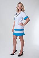 Женский медицинский халат белый+синий  40-56