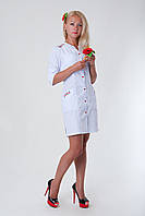 Женский медицинский халат белый с вышивкой 40-56