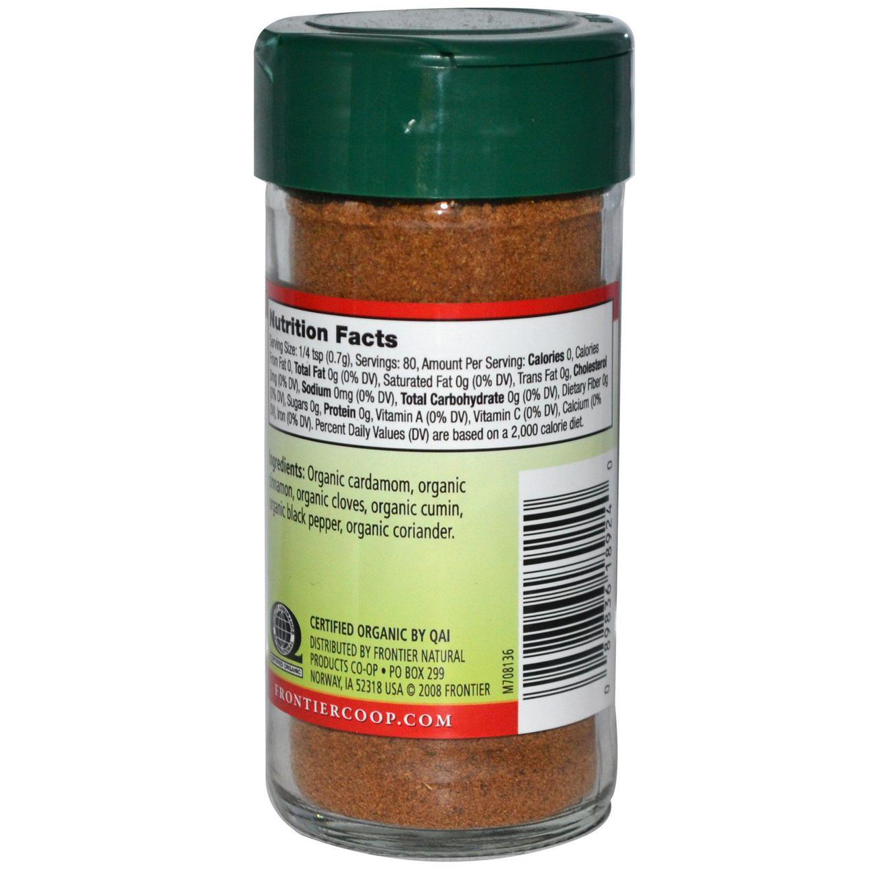 Frontier Natural Products, Органическая гарам масала, бессолевая смесь, 2 унции (56 г)