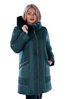 """Стильная куртка из новой коллекции  """"ROLANA"""" (с отделкой из мутона на капюшоне) """"Изумруд"""""""