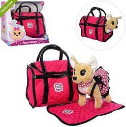 Дитяча інтерактивна іграшка собака Кіккі (копія) у рожевій торбинці в одязі 1621 KK HN