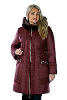 """Стильная куртка из новой коллекции  """"ROLANA"""" (с отделкой из мутона на капюшоне) """"Вишня"""""""